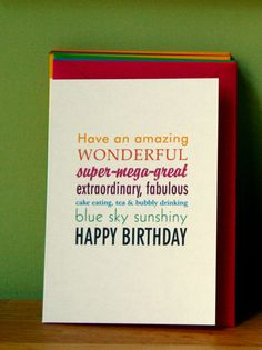 birthday card, wonderful day, multifont, multicolour message. £2.00, via Etsy.