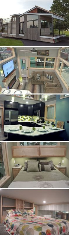 """This Beautiful Tiny House is designed and built by Utopian Villas, a park model seller based in Oak Creek, Wisconsin. Named the """"Denali..."""