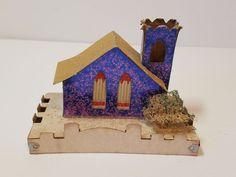 Vintage Christmas Decoration Ornament Putz Mica Cardboard Paper Village House