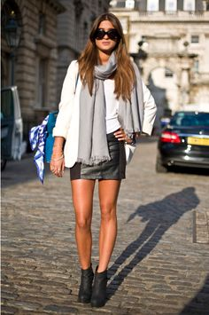 Scarf, booties, white blazer, leather... love.