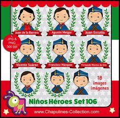60% desc. Niños Héroes clipart, ilustraciones escuela, imágenes México,  Set 106