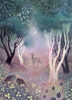 #watercolour #deer #moon #illustration #art #painting #forest Whatsapp Pink, Illustration Photo, Forrest Illustration, Night Illustration, Watercolour Illustration, Forest Painting, Art Graphique, Of Wallpaper, Whimsical Art