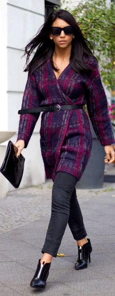 Purple Plaid Wrap Coat Or Sweater Dress Holiday Christmas Style #UNIQUE_WOMENS_FASHION