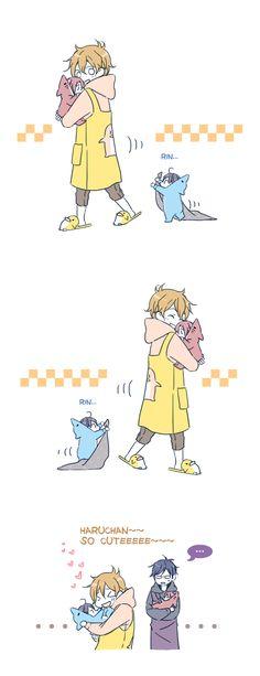 Cuteness ...  Drawn by JUSTIS ...  Free! - Iwatobi Swim Club, free!, iwatobi,  rinrin, haru-chan, nagisa hazuki, nagisa, hazuki, rei ryugazaki, rei, ryugazaki