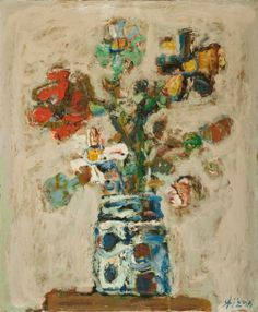 PAUL AIZPIRI - Flowers, Oil on canvas, 65 x 54 cm.