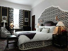 Idea that if your dresser mirror is too small for behind headboard then make a grand fabric cutout and place dresser mirror on top of it