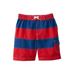 Baby Boy Wippette Striped Swim Shorts, Size: 18 Months, Red