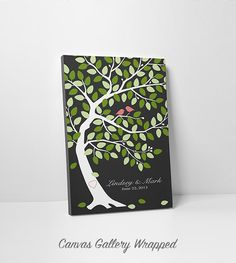 Custom Wedding Guest Book Tree - Wedding Guest Book Alternative - Modern Oak Tree 75-100 Guests - Canvas - 16x20,20x30 or 24x36 Inches