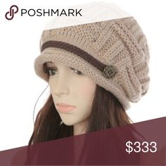 WARM WINTER HAT Cream color. Has decorative band w buttons on front. Well made. Keep warm and look stylish. New in bag.  I try to catch the color that best reflects color of item. There may be a slight color difference. Accessories Hats