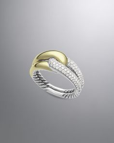 Labyrinth Single-Loop Ring with Diamonds by David Yurman at Neiman Marcus. @Neiman Marcus