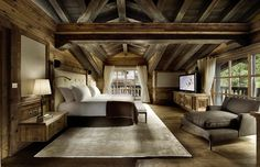 * bedroom of a luxury chalet in courchevel, france...