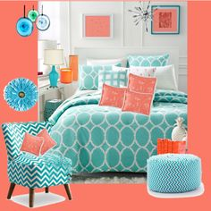 Coral and Turquoise by issilen on Polyvore featuring interior, interiors, interior design, home, home decor, interior decorating, MCM, Martha Stewart, Sferra and LAFCO