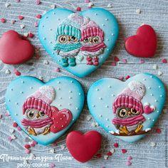 Купить Пряничная валентинка Влюбленные совушки - имбирные пряники, имбирные пряники купить