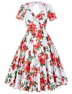 V Neck Vintage Style Business Tea Dress for Women Size L *** You can find more details by visiting the image link.