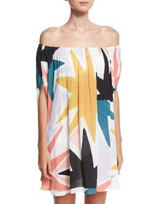 Off-the-Shoulder+Dashiki+Coverup,+Multicolor+by+Mara+Hoffman+at+Neiman+Marcus.