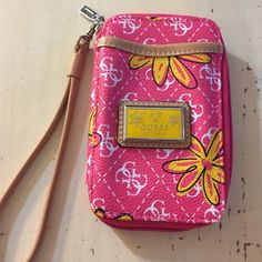 Guess Wristlet New without tags, beautiful Guess Wristlet, see photos. Bright pink and yellow. Guess Bags Clutches & Wristlets