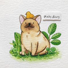 Flowers wherever kitty goes 🐱🌸 - - Cute Doodle Art, Cute Doodles, Cute Art, Dog Illustration, Watercolor Illustration, Watercolor Art, Animal Sketches, Animal Drawings, Art Sketches