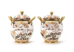 A pair of Spode pot pourri jars, covers and liners, circa 1810-15