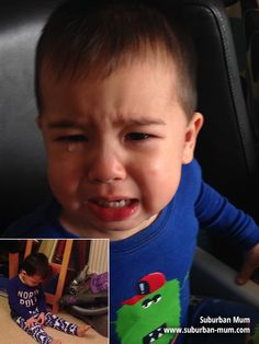 Another day - another toddler meltdown....the main pic is because he threw food that he didn't want to eat anymore and then proceeded to cry because err.. he threw it on the floor!!!!! Inset pic is...