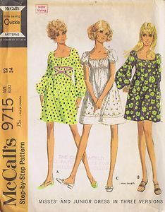 """This one might still be up in the attic!  In the right fabric, still would work today. 1 PC Empire Dress Sewing Pattern McCall 9715 Size 12 Bust 34 Hip 35"""" Cut 