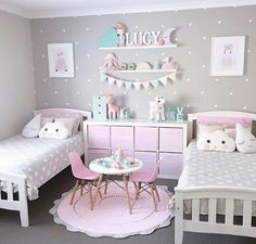 How to Design a girl's bedroom? girls bedroom designs super cute pink, grey and turquoise shared bedroom with polka dot YUBRZSH Girl Bedroom Designs, Girls Bedroom Decorating, Bedroom Decor For Kids, Girls Room Design, Decor Room, Room Decorations, Baby Bedroom, Bedroom Wall, Bedroom Furniture