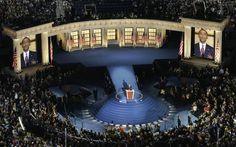 Democratic presidential nominee Sen. Barack Obama gave his acceptance speech Thursday on a richly blue set built on Invesco Field at Mile High Stadium in Denver.