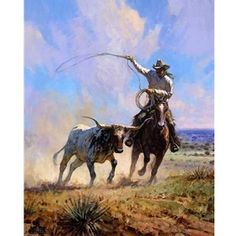 Martin Grelle - Roping a Wild One - a Texas Longhorn and a cowboy chasing it with rope