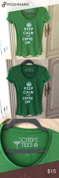 KCCO Chive Tee KEEP CALM & CHIVE ON t-shirt.  Worn once and washed.  Excellent condition.  Size Small. Tops