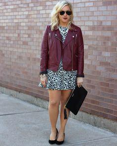leopard dress, red leather jacket