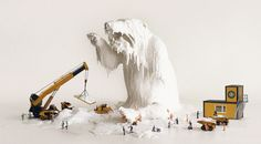 The Melting Bear, mixing materials like clay, wax, plastic