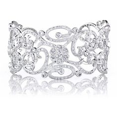 Anastasia's Fancy Filigree and Flower CZ Cuff Bracelet ($219) ❤ liked on Polyvore featuring jewelry, bracelets, filigree cuff bracelet, cuff bangle, cz jewelry, blossom jewelry and cuff bangle bracelet
