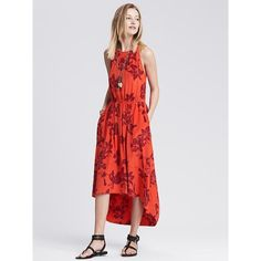Banana Republic Womens Bold Floral Silk High/Low Dress Size 8 Petite -... ($160) ❤ liked on Polyvore