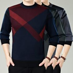 Mens Casual Patterned Long Sleeve Sweater