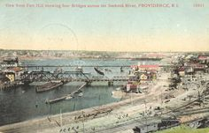 View from Fort Hill showing four bridges across the Seekonk River, Providence, RI, ca. 1900