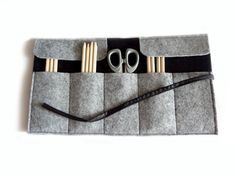 Roll felt pencil case black and grey by lalunadianna on Etsy