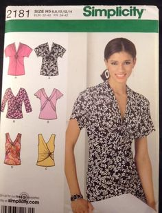 2181 Simplicity Women HH 6 8 10 12 14 Shirt 16 Pieces EUR 32 40 Fr 34 43 FF | eBay