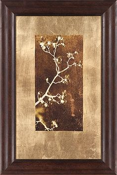 Borrowing from contemporary and traditional oriental art styles, the Gold Leaf Branches Wall art depicts a lone tree branch in bloom. The color contrasts bring to mind photo negatives and add a surreal element to what would be a typical natural image. Metal Wall Art, Framed Wall Art, Painting Frames, Painting Prints, Pallet Ideas Easy, Wood Ideas, Gold Home Accessories, Photo Negative, Lone Tree