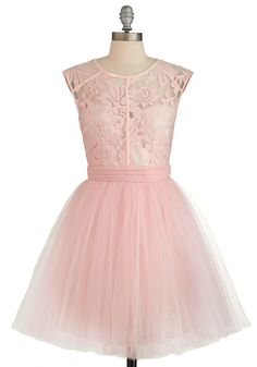 Fiercely Feminine Dress. You command a room by flaunting truly ladylike looks - and this pastel-pink party dress and its tutu-esque tulle skirt are no exception! #pink #prom #wedding #bridesmaid #modcloth