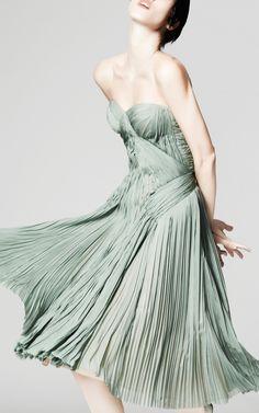 Grayed Jade // Plisse Chiffon Strapless Dress by Zac Posen