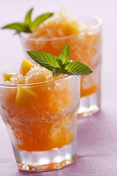 Georgia peach and basil bourbon slushies