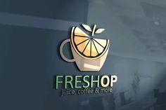 Fresh Logo by Josuf Media on Coffee Shop Names, Coffee Shop Logo, Coffee Shop Design, Cafe Names Ideas, Shop Name Ideas, Smoothie Names, Smoothie Bar, Ideas Para Logos, Juice Bar Interior
