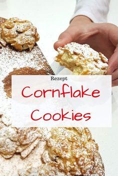 Cornflake Cookies sind ganz besondere Kekse, die sich toll zum Verschenken und als Mitbringsel eignen. Sie sind innen weich und außen Knusprig. Mit Schokoladenstückchen schmecken sie Kinder richtig gut. Star Cakes, Corn Flakes, Finger Foods, Thermomix, Candy, Sugar Cookies, Muffins, Cereal, Sweets