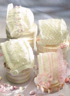 Four designs baby hat bonnet vintage knitting by Ellisadine