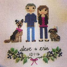 I don't know Steve & Erin but I wish them a happy marriage! #crossstitch #dmc #dogsofinstagram #pug #germanshepherd #embroidery #handmade #handstitched #happycouple #makersgonnamake #marriage #stitch #stitchedwithlove #thread #xstitch