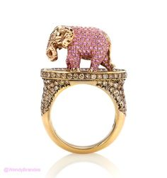 """For all of you elephant lovers (you know who you are), here's a special piece from Wendy Brandes. pink gold """"Pink Elephant & Tipsy Writer Maneater"""" ring featuring a pink Sapphire elephant ctw.) accented with a Ruby and brown and white Diamonds ctw. Elephant Ring, Elephant Jewelry, Pink Elephant, Animal Jewelry, Animal Rings, High Jewelry, Jewelry Art, Jewellery, Gemstone Jewelry"""