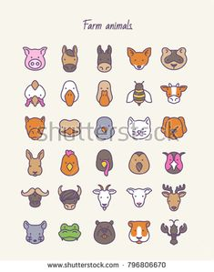 Farm animals. Outline vector set icons. Unique Business Cards, Professional Business Cards, Animal Outline, Pictogram, Vector Icons, Farm Animals, Sheep, Cow, Wildlife