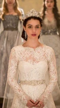 Beautiful lace wedding dress with sleeves.