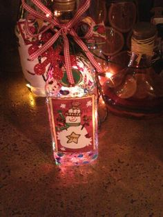 snow man stained glass bottle lamp