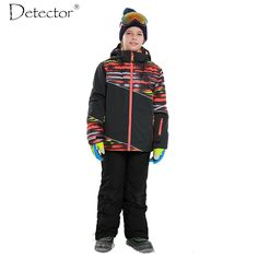 94.50$  Buy here - http://ali5we.worldwells.pw/go.php?t=32765346748 - Detector Boys Outdoor Ski Set Waterproof Windproof Warm Ski Jacket Kids Winter Snowboard Suit