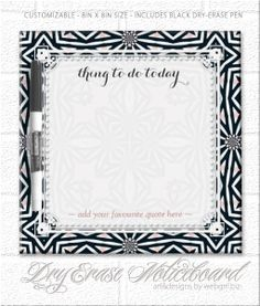 Tribal Aztec Daisy Border To-Do List Erase board Dry-Erase Whiteboards